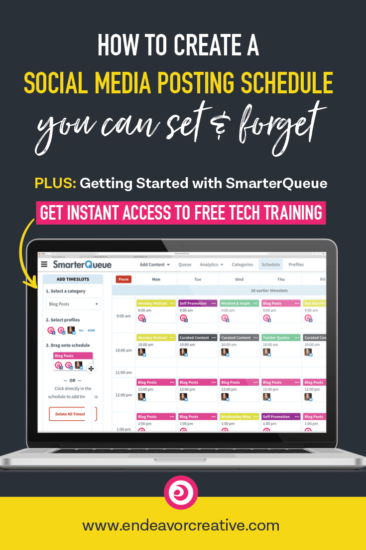 How To Create A Social Media Posting Schedule You Can Set & Forget PLUS free tech training to get you started with SmarterQueue    social media posting schedule, best social media scheduling tools, social media strategy, social media calendar